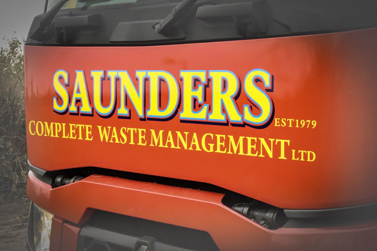 Saunders Complete Waste Management on front of HGV
