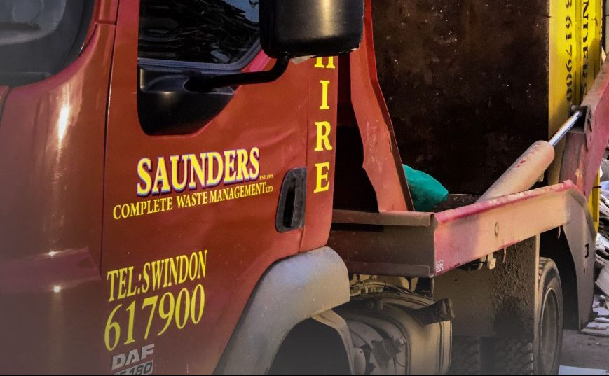 Saunders Complete Waste Management vehicle unloading skip